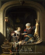 A Poulterer's Shop painting reproduction, Gerrit Dou