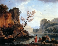 A River with Fishermen painting reproduction, Claude Vernet