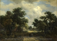 A Road Winding Past Cottages painting reproduction, Meindert Hobbema