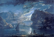 A Rocky Coast by Moonlight painting reproduction, Paul Sandby