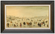 A Scene on the Ice painting reproduction, Hendrick Avercamp