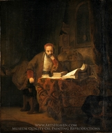 A Scholar in his Study painting reproduction, Rembrandt Van Rijn