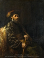 A Seated Man with a Stick painting reproduction, Rembrandt Van Rijn