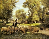 A Shepherd and his Flock painting reproduction, Julien Dupre