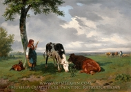 A Shepherdess with a Goat and Two Cows in a Meadow painting reproduction, Rosa Bonheur
