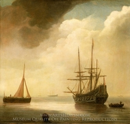 A Ship in a Calm Sea painting reproduction, Abraham De Verwer