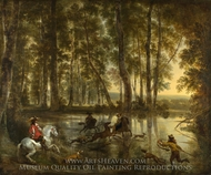 A Stag Hunt in a Forest painting reproduction, Nicolaes Berchem