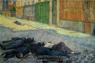 A Street in Paris, may 1871 (The Commune) painting reproduction, Maximilien Luce