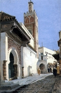 A Street Scene With A Mosque Tangier painting reproduction, Manuel Garcia Rodriguez