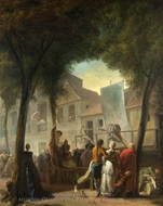 A Street Show in Paris painting reproduction, Gabriel-Jacques De Saint-Aubin