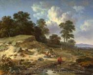 A Track by a Dune, with Peasants and a Horseman painting reproduction, Jan Wijnants