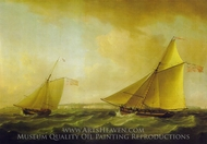 A Trinity House Yatch and a Revenue Service Cutter off Ramsgate painting reproduction, Thomas Whitcombe