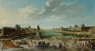 A View of Paris from the Pont Neuf painting reproduction, Jean-Baptiste Raguenet