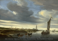 A View of Rhenen seen from the West painting reproduction, Salomon Van Ruysdael