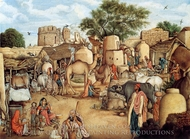 A Village Scene in the Punjab painting reproduction, Gulam Ali Khan