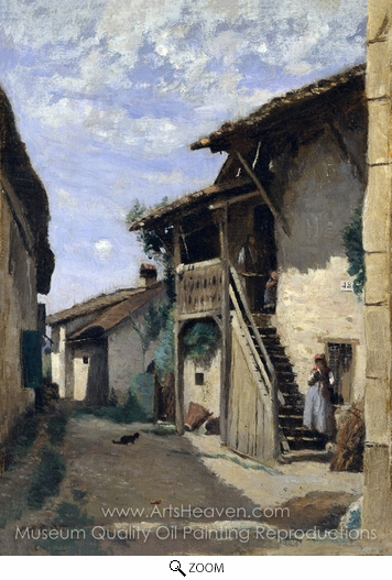 Jean-Baptiste Camille Corot, A Village Steeet, Dardagny oil painting reproduction