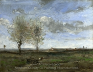 A Wagon in the Plains of Artois painting reproduction, Jean-Baptiste Camille Corot