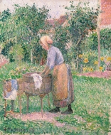 A Washerwoman at Eragny painting reproduction, Camille Pissarro