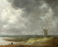 A Windmill by a River painting reproduction, Jan Van Goyen