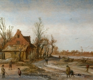 A Winter Landscape painting reproduction, Esaias Van De Velde
