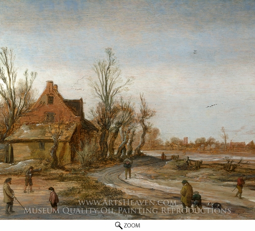 Esaias Van De Velde, A Winter Landscape oil painting reproduction