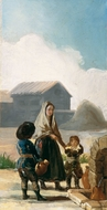 A Woman and Two Children by a Fountain painting reproduction, Francisco De Goya