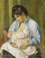 A Woman Nursing a Child painting reproduction, Pierre-Auguste Renoir
