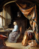 A Woman Playing a Clavichord painting reproduction, Gerrit Dou