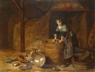 A Woman Scouring a Pot painting reproduction, Pieter Van Den Bosch