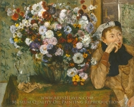 A Woman Seated beside a Vase of Flowers (Madame Paul Valpincon) painting reproduction, Edgar Degas