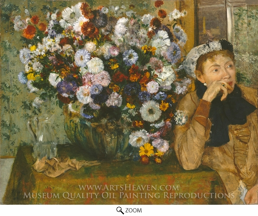 Edgar Degas, A Woman Seated beside a Vase of Flowers (Madame Paul Valpincon) oil painting reproduction