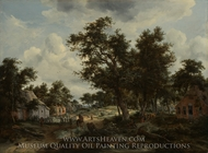 A Wooded Landscape with Travelers on a Path through a Hamlet painting reproduction, Meindert Hobbema