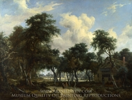A Woody Landscape with a Cottage painting reproduction, Meindert Hobbema
