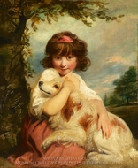 A Young Girl and Her Dog painting reproduction, Sir Joshua Reynolds