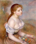 A Young Girl with Daisies painting reproduction, Pierre-Auguste Renoir