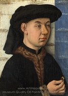 A Young Man Holding a Ring painting reproduction, Jan Van Eyck