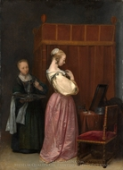 A Young Woman at Her Toilet with a Maid painting reproduction, Gerard Ter Borch