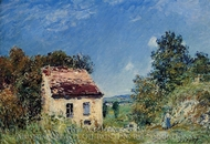 Abandoned House painting reproduction, Alfred Sisley