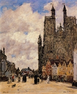 Abbeville, Street and the Church of Saint-Folfran painting reproduction, Eugene-Louis Boudin