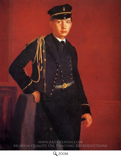 Edgar Degas, Achille Degas in the Uniform of a Cadet oil painting reproduction