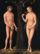 Adam and Eve painting reproduction, Lucas Cranach