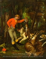 After the Hunt painting reproduction, Gustave Courbet