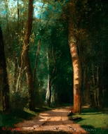 Allee dans une Foret painting reproduction, Camille Pissarro