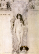 Allegory Sculpture painting reproduction, Gustav Klimt
