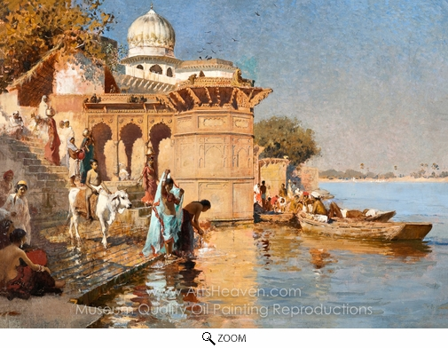 Edwin Lord Weeks, Along the Ghats, Mathura oil painting reproduction