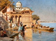Along the Ghats, Mathura painting reproduction, Edwin Lord Weeks