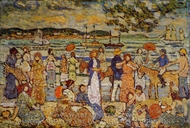 Along the Shore painting reproduction, Maurice Prendergast