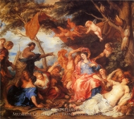 Amaryllis and Mirtillo painting reproduction, Sir Anthony Van Dyck