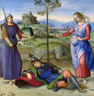 An Allegory (Vision of a Knight) painting reproduction, Raphael Sanzio