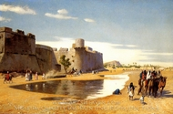 An Arab Caravan Outside a Fortified Town, Egypt painting reproduction, Jean-Leon Gerome